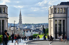 Brussels, Belgium - May 13, 2015: Tourist visit Kunstberg or Mon. T des Arts (Mount of the arts) gardens in Brussels, Belgium. The Mont des Arts offers one of royalty free stock photo