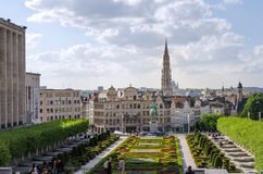 Brussels, Belgium - May 12, 2015: Tourist visit Kunstberg or Mont des Arts (Mount of the arts) gardens in Brussels. Belgium. The Mont des Arts offers one of stock photo
