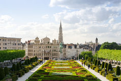 Brussels, Belgium - May 12, 2015: Tourist visit Kunstberg or Mont des Arts (Mount of the arts) gardens in Brussels. Belgium. The Mont des Arts offers one of royalty free stock photos