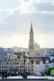 Brussels, Belgium - May 12, 2015: Tourist visit Kunstberg or Mont des Arts (Mount of the arts) gardens in Brussels. Belgium. The Mont des Arts offers one of royalty free stock photography