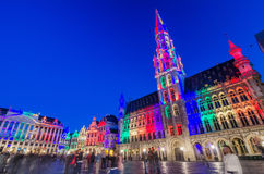 Brussels, Belgium - May 13, 2015: Tourists visiting famous Grand Place of Brussels. Royalty Free Stock Photo