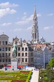 Brussels, Belgium. Mont des Arts Park and Town Hall tower, in the back. stock photo