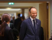 French Prime Minister Mr Edouard PHILIPPE. BRUSSELS, BELGIUM - Nov 24, 2017: French Prime Minister Mr Edouard PHILIPPE at the Fifth Eastern Partnership Summit stock photography