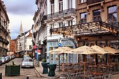 Brussels city. BRUSSELS, BELGIUM - NOVEMBER 19, 2016: Street view in Brussels, Belgium. Brussels is the capital city of Belgium. 1.8 million people live in its Royalty Free Stock Image