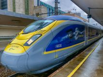 Brussels, Belgium - October 30, 2018: The E320 Eurostar International High Speed passengers Train in the Brussels North railway. Brussels, Belgium - October 30 royalty free stock images