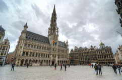 Brussels. BELGIUM - OCTOBER 27 : Houses of the famous Grand Place on October 27, 2013, , Belgium. Grand Place was named by UNESCO as a World Heritage Site in royalty free stock images