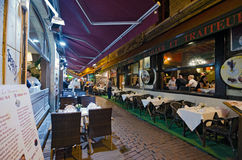Brussels. BELGIUM - OCTOBER 26 : Rue Des Bouchers on October 26, 2013, , It is known as Brussel' belly, due to the many cafes and restaurants offering all Stock Photo