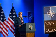 Donald Trump at press conference, during NATO SUMMIT 2018. 12.07.2018. BRUSSELS, BELGIUM. Press conference of Donald Trump, President of United States of America royalty free stock photos