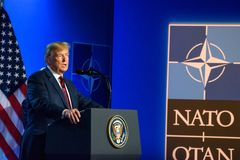 Donald Trump at press conference, during NATO SUMMIT 2018. 12.07.2018. BRUSSELS, BELGIUM. Press conference of Donald Trump, President of United States of America stock photography