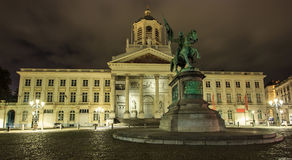 BRUSSELS,BELGIUM - SEP 05, 2016: Coudenberg, former Palace of Brussels, Belgium at night. The statue of Godfrey, Duc of Bouillon. BRUSSELS,BELGIUM - SEP 05 Royalty Free Stock Photo