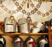 Artisan replicas of medieval knight's attributes Stock Images