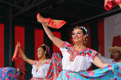 Dancers of Xochicalli Mexican folkloric group Stock Photography