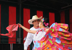 Xochicalli Mexican folkloric ballet in a concert on Grand Place Royalty Free Stock Photography