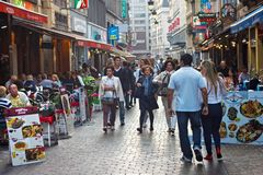 BRUSSELS, BELGIUM - SEPTEMBER 06, 2014: Walking tourists in the historic center of Brussels. royalty free stock image