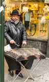 Brussels, Belgium: street músic of the Andes playing xylophone Royalty Free Stock Image