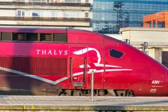 Thalys train in brussels belgium stock photography