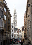 Brussels, Belgium: Tower of Grand Place seen from an aside  street Royalty Free Stock Photography