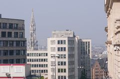 Brussels, Belgium. Town Hall tower, City hall with modern buildings in front royalty free stock photo