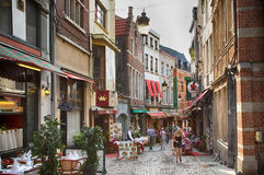 BRUSSELS, BELGIUM. View on Rue des Bouchers stre Royalty Free Stock Photo