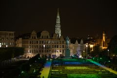 Palace park in twilight. Brussels, Belgium.View to Palace park in twilight. October evening royalty free stock image