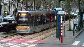 Brussels, Belgium - winter 2016: Tramway. stock video footage