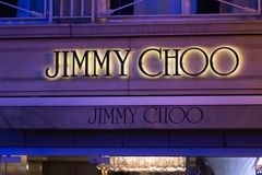 Brussels, brussels/belgium - 13 12 18: jimmy choo store sign in brussels belgium. Brussels, brussels/belgium - 13 12 18: an jimmy choo store sign in brussels stock image