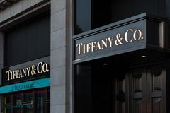 Brussels, brussels/belgium - 13 12 18: tiffany & co sign in brussels belgium. Brussels, brussels/belgium - 13 12 18: an tiffany & co sign in brussels belgium stock photos