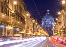 Brussels Bruxelles, Belgium. Brussels Bruxelles - February 2016, Belgium: Nigh view of the Belgian Capital, car light trails on Rue Royal street, view on Saint royalty free stock photography
