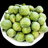 Brussels cabbage on black Stock Photography