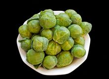 Brussels cabbage isolated over black Royalty Free Stock Photo