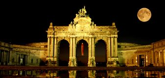 Brussels capital of Europe sightseeing, full moon Stock Photos