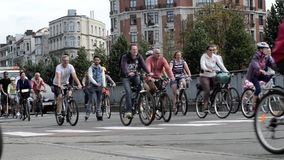 Brussels car free day - Belgium stock footage