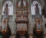Brussels Cathedral Organ Stock Image