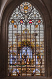 Brussels Cathedral Stained Glass Windows Stock Photo