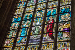 Brussels Cathedral Stained Glass Windows Royalty Free Stock Images