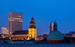 Brussels Churches. Skyline of Brussels Belgium with old churches and modern office buildings stock images