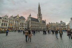 Brussels city central square Grand Place, part of UNESCO world heritage. Brussels city central square Grand Place surrounded by its Baroque style is part of Royalty Free Stock Images