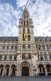 Brussels City Hall on Grand Place square, Belgium stock image