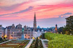 Brussels at sunset, Brussels, Belgium. Brussels City Hall and Mont des Arts area at sunset in Brussels, Belgium stock photo