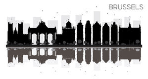 Brussels City skyline black and white silhouette with reflection Stock Image