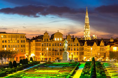 Brussels Cityscape Belgium. Brussels Cityscape from Monts des Arts at dusk, Belgium Stock Photography
