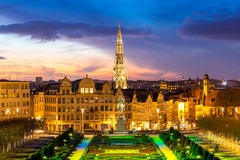 Brussels Cityscape Belgium. Brussels Cityscape from Monts des Arts at dusk, Belgium stock images