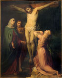 Brussels - The Crucifixion paint by Jean Baptiste van Eycken (1809 - 1853) in Notre Dame de la Chapelle Royalty Free Stock Photo