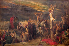 Brussels - The Crucifixion paint by Jean Francois Portaels (1886) in St. Jacques Church at The Coudenberg. Stock Image