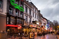 BRUSSELS - DECEMBER 1, 2017: Commercial area at Porte de Namur, Brussels. Royalty Free Stock Image