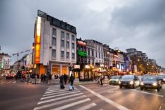 BRUSSELS - DECEMBER 1, 2017: Commercial area at Porte de Namur, Brussels. Royalty Free Stock Photography