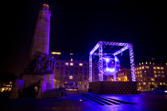 BRUSSELS - DECEMBER 6: Disco ball light installation at Place Poelaert as part of Bright Brussels Winter on December 6, 2016 in Br Royalty Free Stock Photos