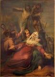 Brussels - The Deposition of the cross scne by Jean Baptiste van Eycken (1809 - 1853) in Notre Dame de la Chapelle Stock Photo