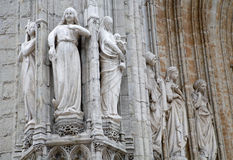 Brussels - Detail from main portal of Notre Dame du Sablon gothic church Royalty Free Stock Image