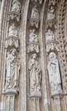 Brussels - Detail from main portal of Notre Dame du Sablon gothic church Stock Photography